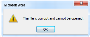MS Word Corruption Error