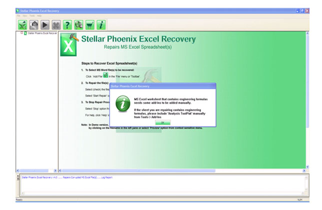 Stellar Phoenix Excel Repair Screenshot