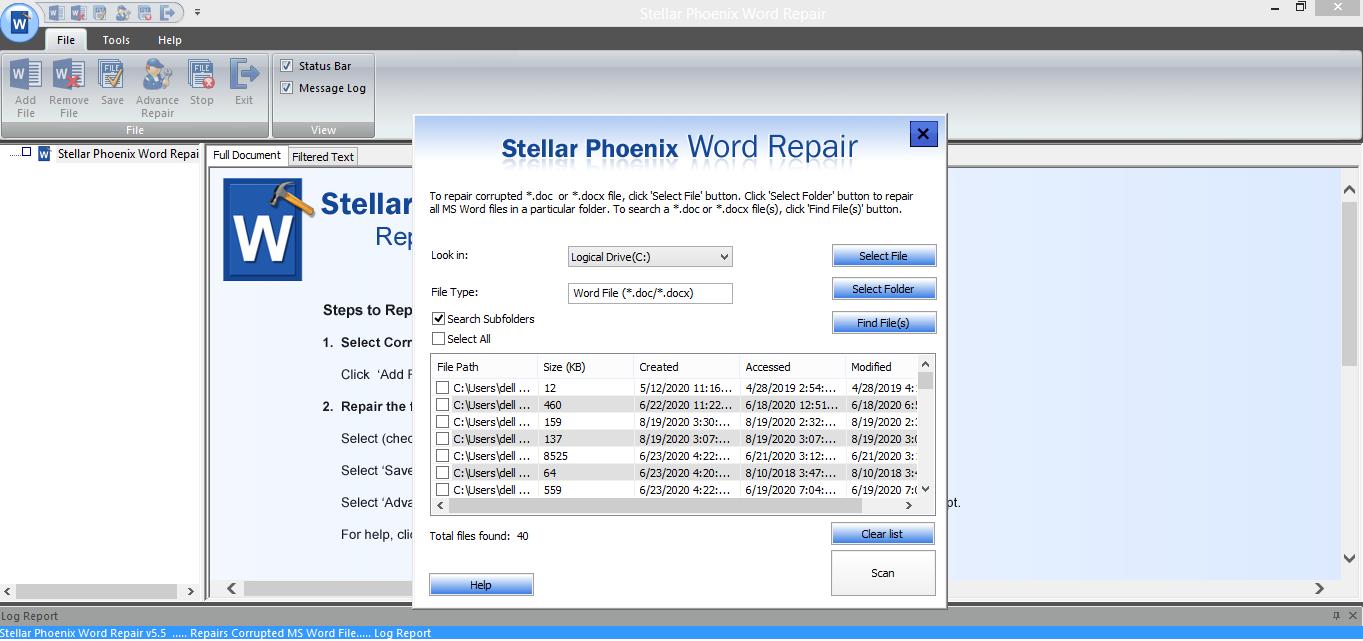 Select word files