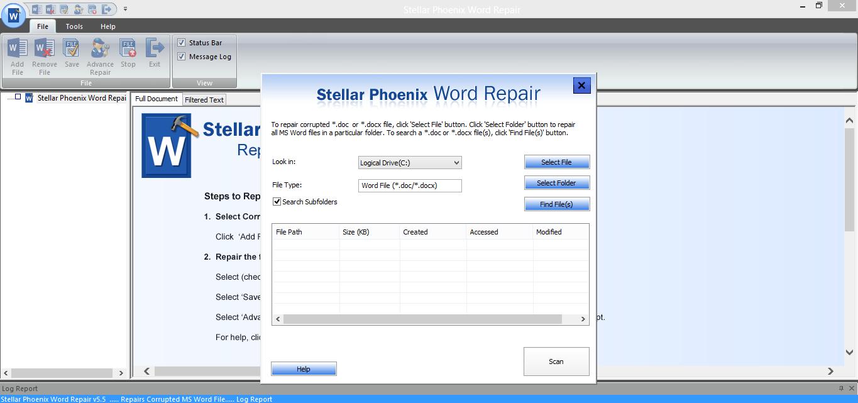 Click on Select folder word repair
